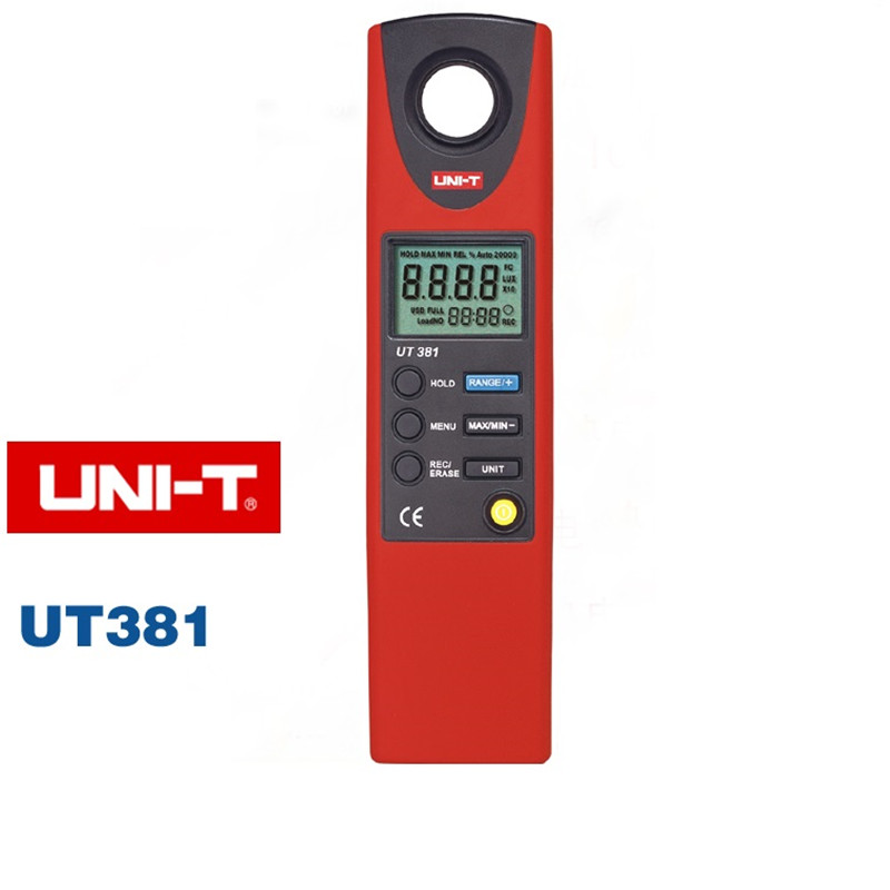UNI-T UT381 Digital Professional Photometer Illuminance Measurement LCD Auto Range LUX/FC Luminometer Lux Meter UNI-T UT381 free shipping uni t c handeld lcd luminometer illuminometer lux meter tester