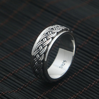 FNJ 925 Silver Ring Rope New Fashion Jewelry S925 Sterling Silver Rings for Women Men Size 7.25 11.5 bague