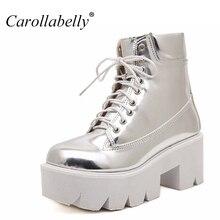 2017 Кружево до Высокие каблуки Для женщин в стиле панк Ботильоны, Обувь на толстой подошве, кожаные мотоциклетные ботинки в европейском стиле 7 цветов