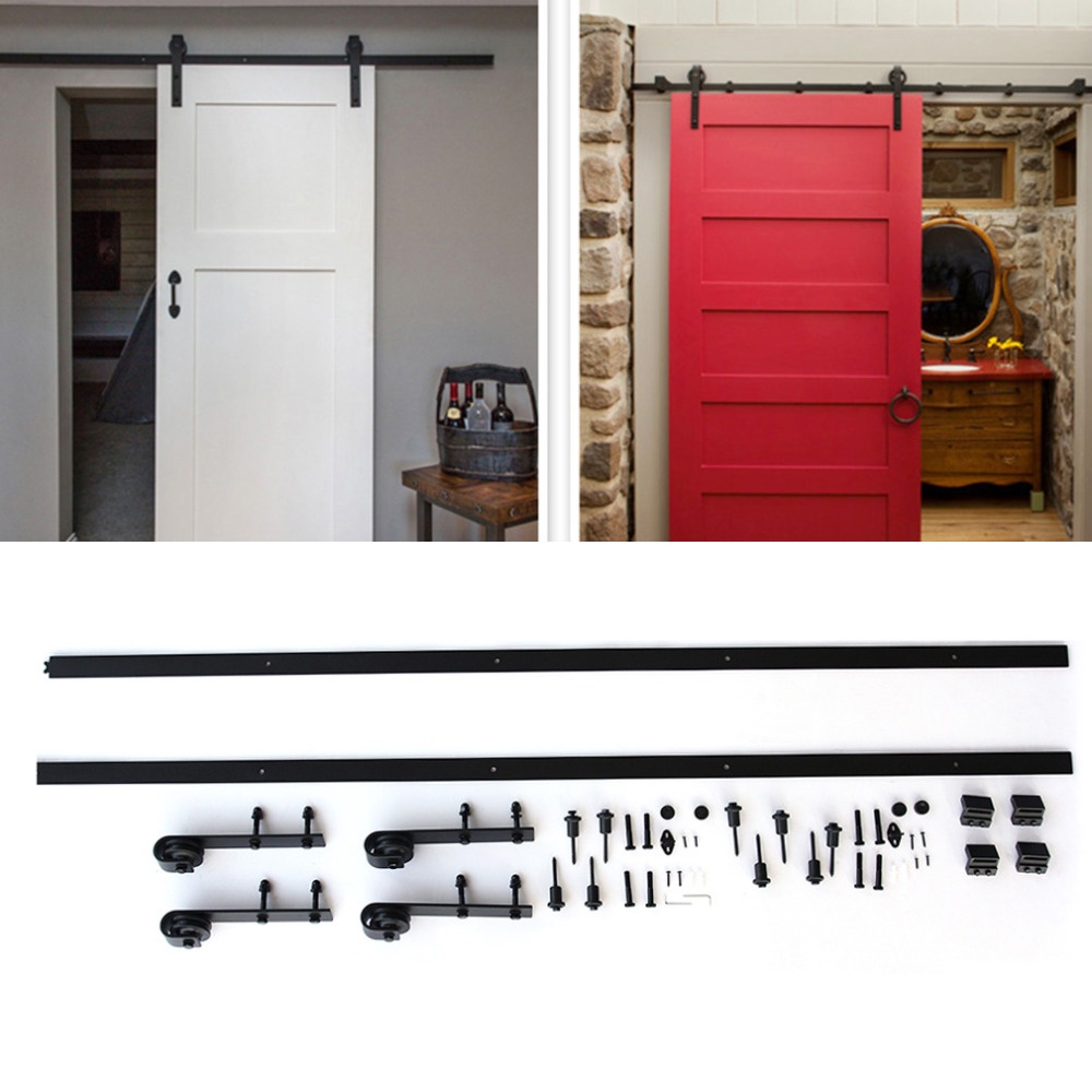 Black Metal 12ft Long Black Sturdy and Durable Antique Style Heavy Duty Sliding Barn Wood Door Hardware Closet Set 5 8ft new listing domestic sliding barn wood door hardware top quality steel country style black barn door hardware track set