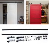 Black Metal 12ft Long Black Sturdy And Durable Antique Style Heavy Duty Sliding Barn Wood Door