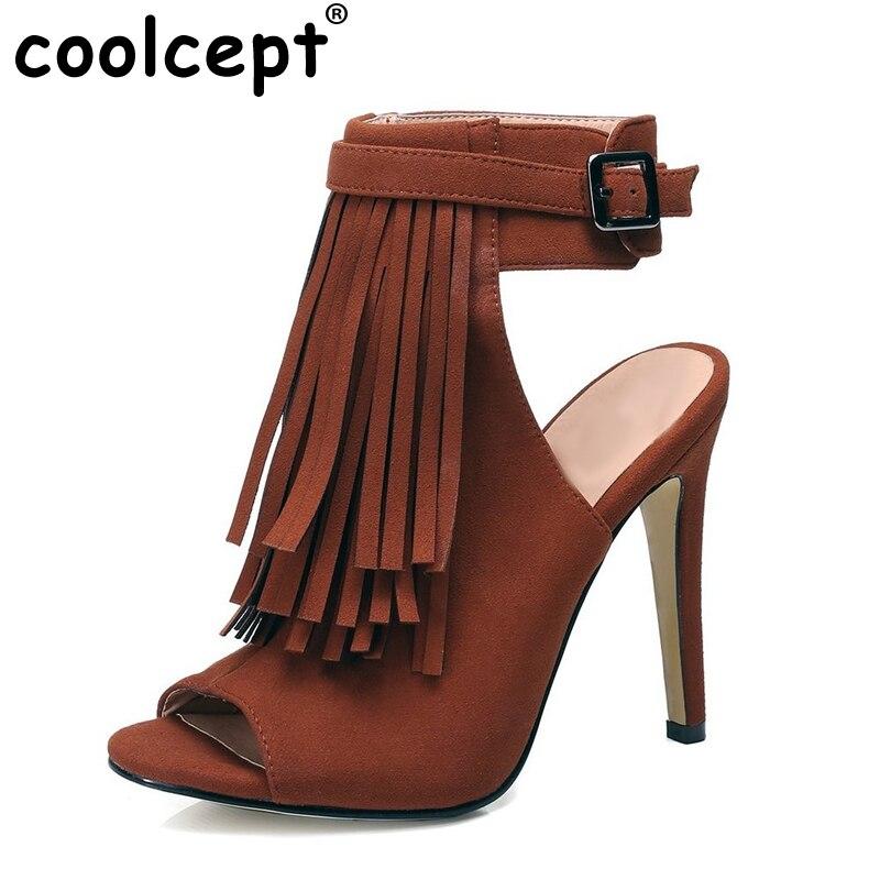 ФОТО Shoes Women Peep Toe High Heels Sandals  Ladies Gladiator Vintage Tassel Woman heeled Sandalias Shoes Footwear Size 35-46 B233