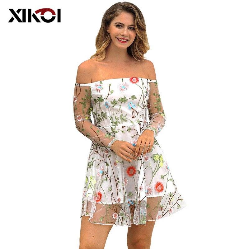 Femmes Robes D'été à Manches Longues En Maille Slash Cou Fête Robe De Plage Femmes Imprimé Floral Robes décontracté Beachwear Robes Femme