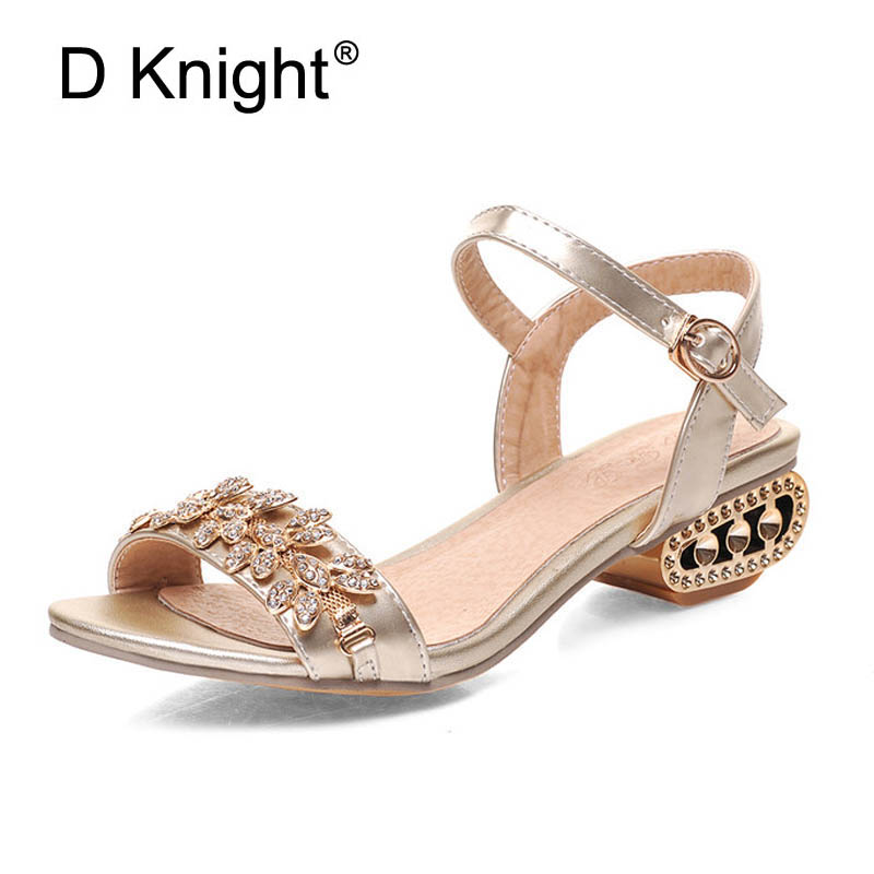 Summer Gladiator Sandals Women Crystal High Heels Platform Shoes Woman Buckle Strap Sandalia Feminina Plus Size 32-43 Gold E01 hee grand gold silver high heels 2017 summer gladiator sandals sexy platform shoes woman casual shoes size 35 43 xwz4075