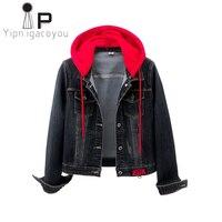 Korean Denim Jacket For Women Outerwear Spring Autumn Big size Short Elasticity Jacket Jeans Women Hooded Long sleeve Denim Coat