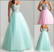 free shipping 2015 new saia longa Long Sweetheart Tulle beading crystal custom Ball Gowns party hot Homecoming Dresses