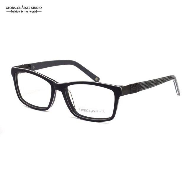 Square Rim Acetate Gles Frame Men Black Color Eyewear Gunmetal Metal Horn Stripe Temple