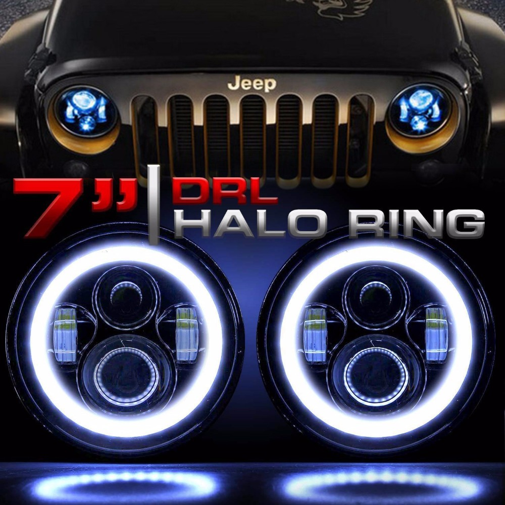 """Image 3 - 7""""INCH LED Headlight Car Angel Eyes DRL Running Lights for Ford Mustang 1965 1978 Camaro 1967 1981 Kenworth T 2000 Harley-in Car Light Assembly from Automobiles & Motorcycles"""