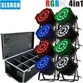 8 шт./лот и кейс для полета алюминиевый корпус dmx512 led свет par rgbw LED рынок dj Свет 24x12 Вт par свет rgbw 4in1 par для dj настольного паба
