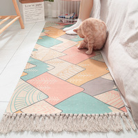 Ins Japanese style cotton hand woven wall hangings bedside carpets eco friendly home bedroom long tassel non slip mats
