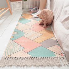 Ins Japanese style cotton hand-woven wall hangings bedside carpets eco-friendly home bedroom long tassel non-slip mats