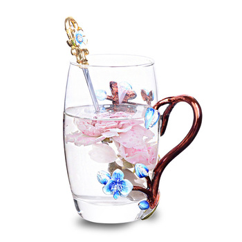 Crystal Glass Tea Coffee Cup Enamel Plum Blossom Metal Handgrip Glass Mugs Individual Box Package For Perfect Mother's  Gift