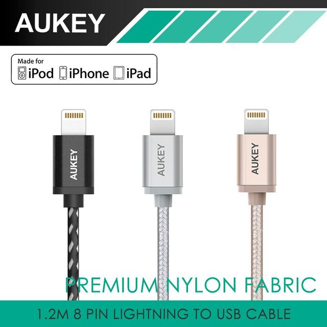 Aukey original 3.3ft/1.2 m cabo usb para iphone 7 plus 6 s/para iphone 6 mais 8 Pinos cabos de Sincronização do telefone móvel 3 Cores usb cabo usb