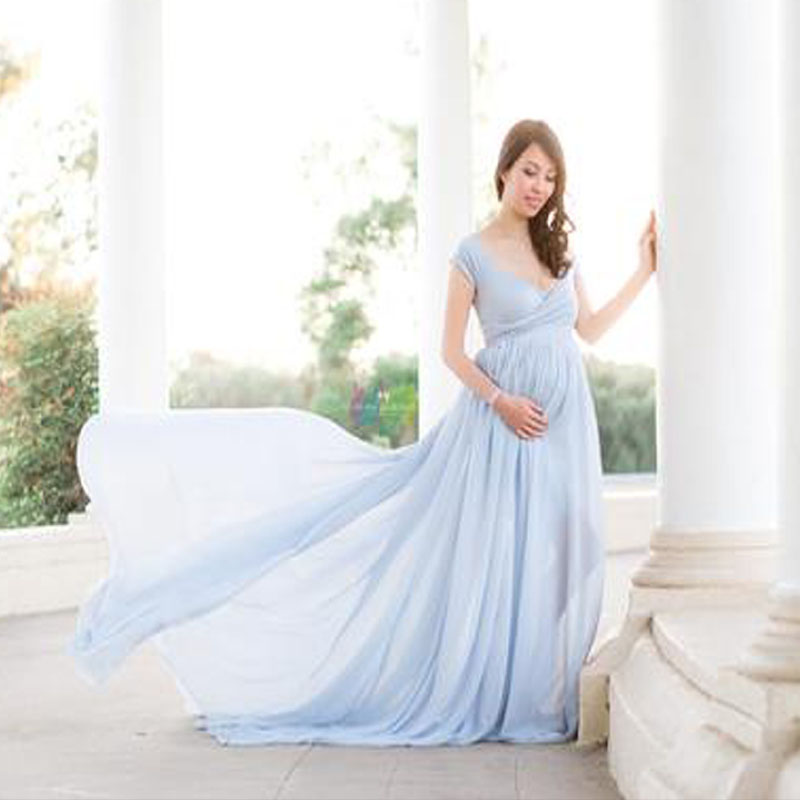 c616c5b2e9 Maternity Off Shoulders Half Circle Gown for Baby Shower Photo Props ...