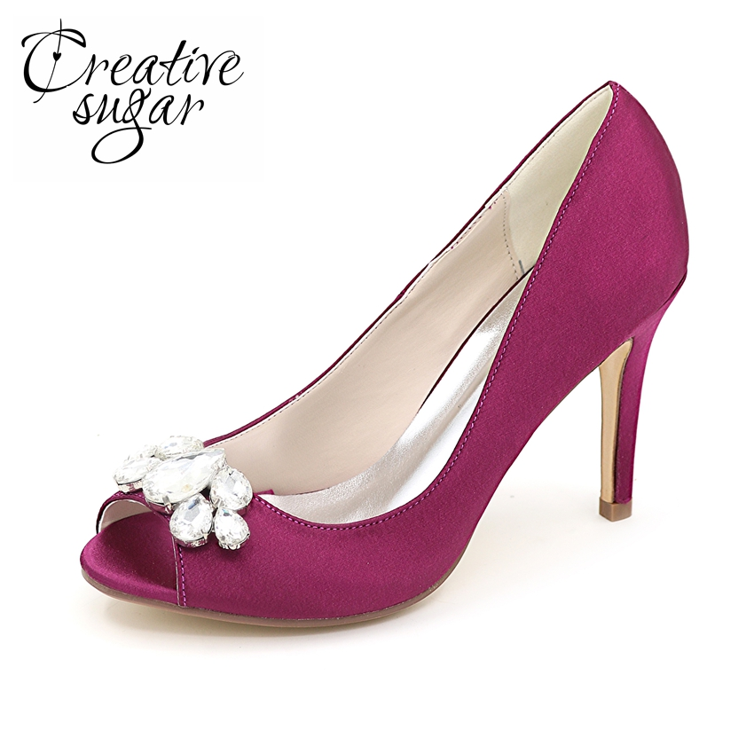 Creativesugar woman satin dress shoes with crystal evening wedding party bridal guest pumps open peep toe shoes purple silver