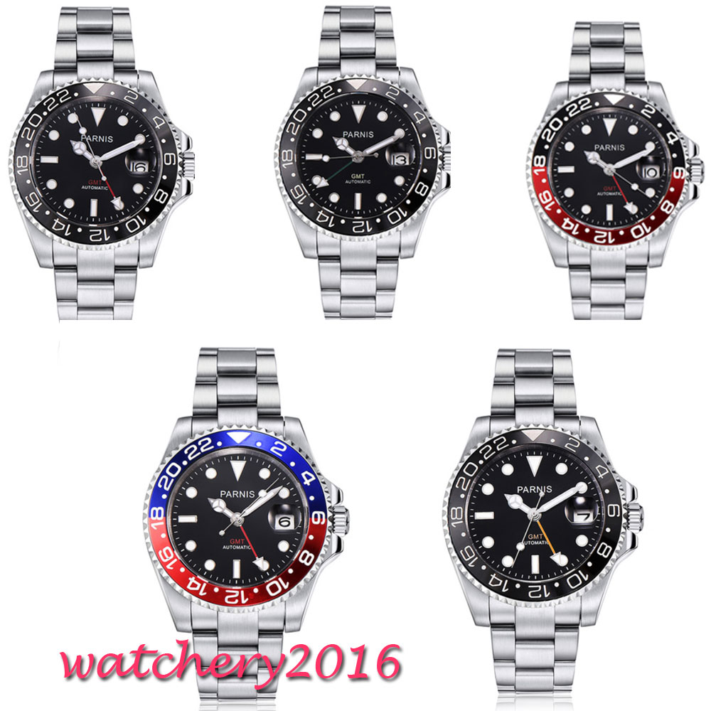 где купить 40mm Parnis Mechanical Watches Black Red Bezel GMT Diver Watch Full Stainless Steel Sapphire Automatic movement mens Watch дешево