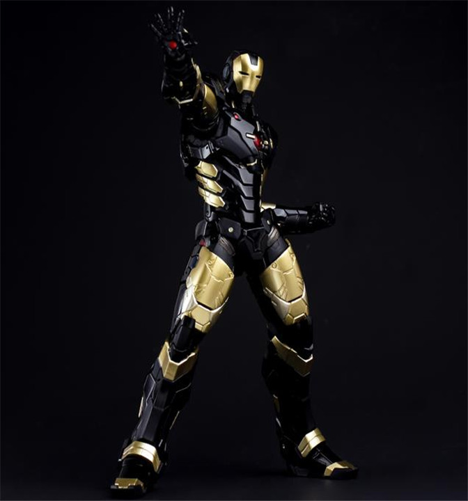 цена на HC Iron Man Mark MK 42 BLACK GOLD with LED Light PVC Action Figure Collectible Model Toy 28cm