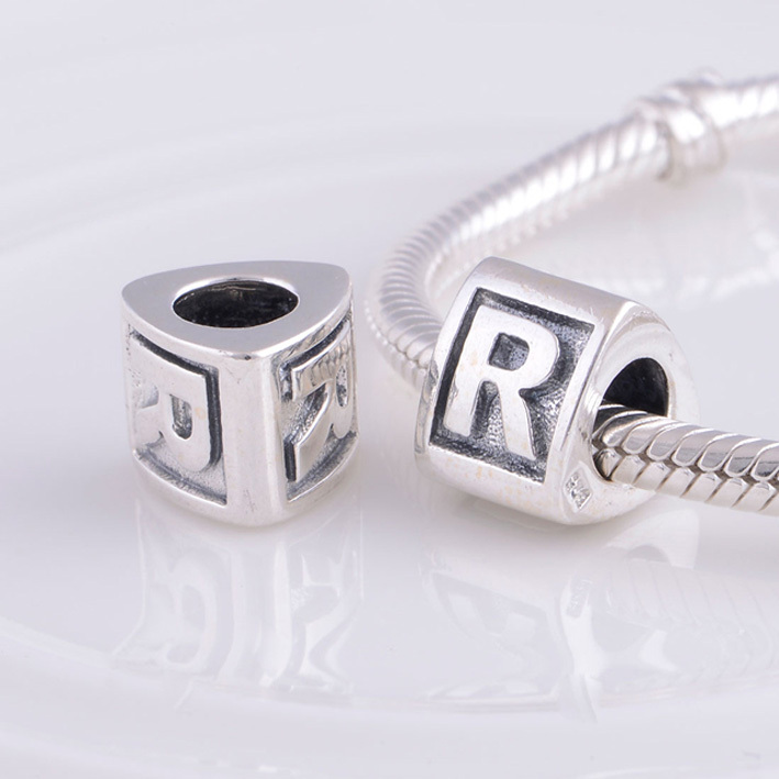f643d9856 Alphabet Letter R Charm Silver Beads Fit Pandora Bracelet Charms 925  Sterling Silver Jewelry Bead DIY for women Bracelet