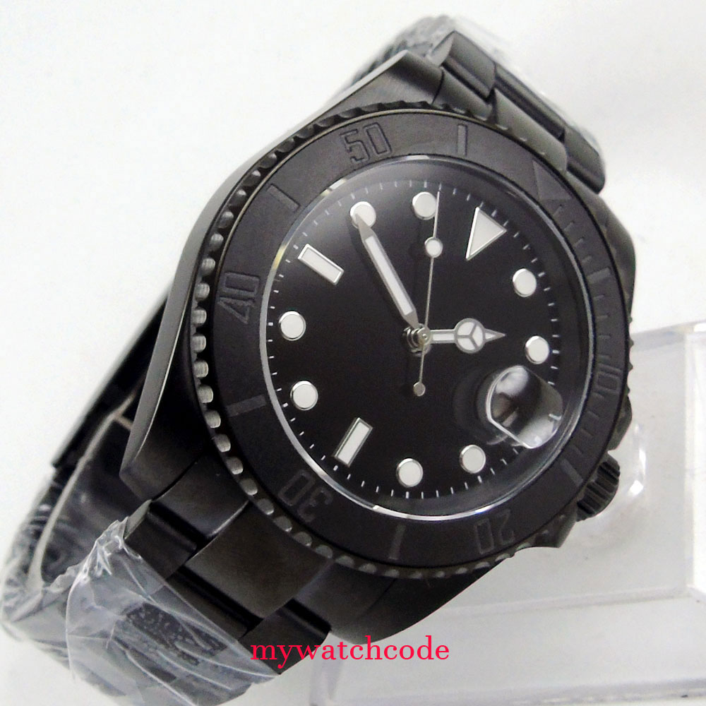 40mm parnis black dial pvd date gmt automatic automatikuhr. Black Bedroom Furniture Sets. Home Design Ideas