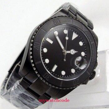 40mm Parnis black dial PVD date GMT automatic Automatikuhr Saphirglas Uhr mens watch