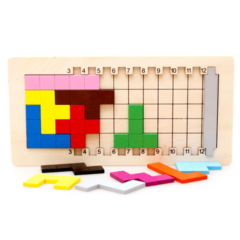 Baby Educational Toys Katamino Blocks Wood Learning Tetris Blocks Tangram Slide Building Blocks Children Wooden Toys Gift