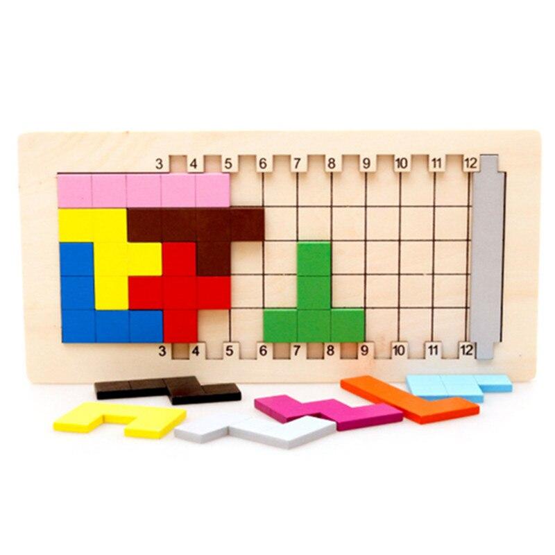 Giocattoli Educativi per Bambini Blocchi di Legno Katamino Apprendimento Blocchi di Tetris Tangram Scivolo Building Blocks Bambini Giocattoli di Legno Regalo