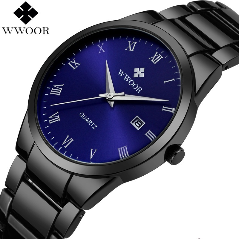 WWOOR Quartz Day Date Watch Mens Stainless Steel Wristwatch Black Blue Men's Watches Waterproof Classic Male Clock Dropshipping stylish 8 led blue light digit stainless steel bracelet wrist watch black 1 cr2016
