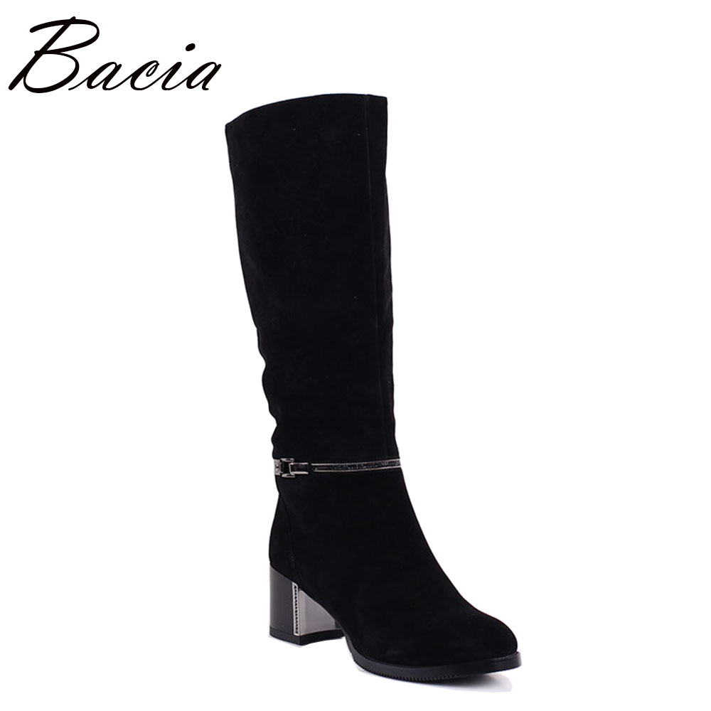 Bacia Sheep Suede Boots  6.5cm Square Heel Long Boots Women's Fashion Knee-high Boots Autumn Winter Shoes Size 36-40 MC009