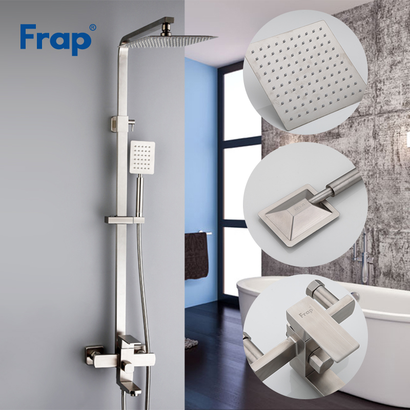 Frap new Luxury Wall Mounted stainless steel Rain Shower faucets Set system cold hot water Square