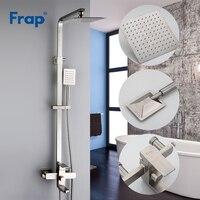 Frap новый роскошный настенный нержавеющая сталь Дождь душ Набор смесителей системы холодной и горячей воды квадратный ручной насадки для ду