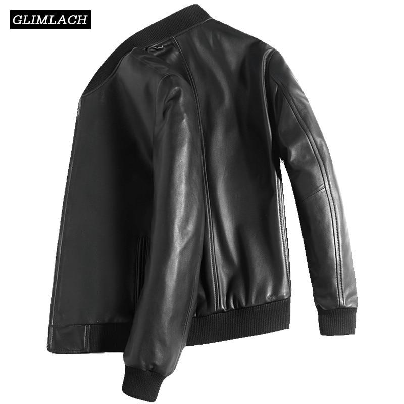 White Bomber Leather Jacket Mens Lambskin Genuine Leather Jacket