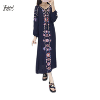 YACKALASI Split Dress Women Sex Spring Dress O Neck Ethnic Flower Embroidered Cotton Tunic Casual Long
