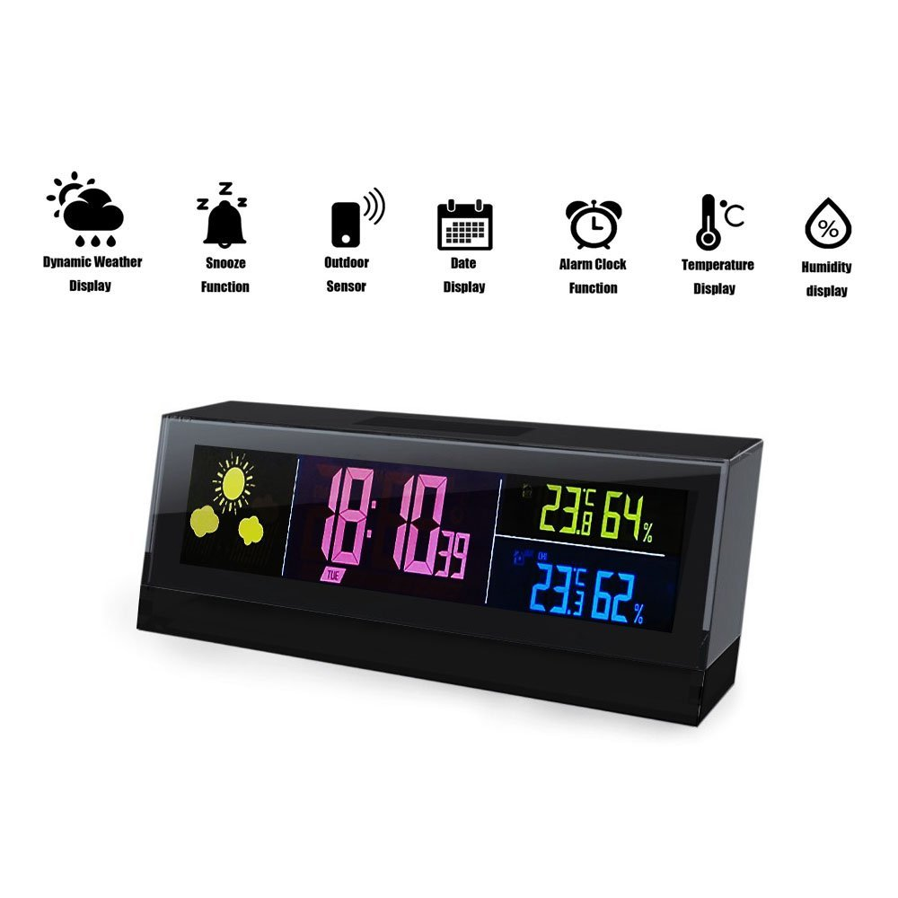 creative haptime wireless cube weather station with rf remote sensor new forecast temperature. Black Bedroom Furniture Sets. Home Design Ideas