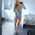 Sexy Women Plunge V Neck Jumpsuit New Nightwear Pajamas Sleepwear Tie Stretch Crop Tops Tight One Piece Knitted Romper TT285
