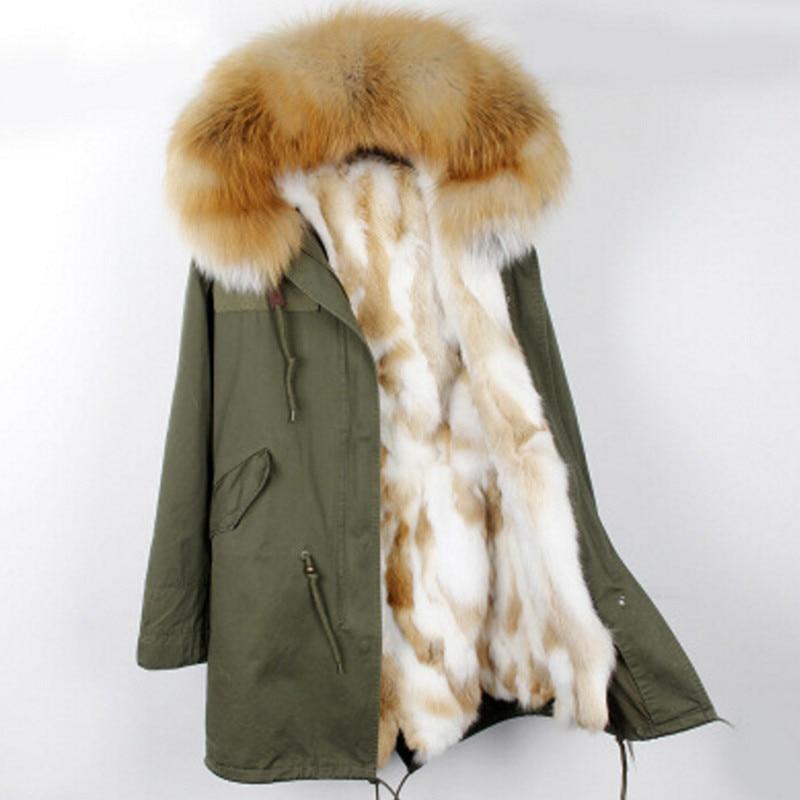 2019 manteau de fourrure véritable hiver Long vestes et manteaux femmes Parka naturel fourrure de raton laveur col capuche épais chaud réel fourrure de renard neige femme