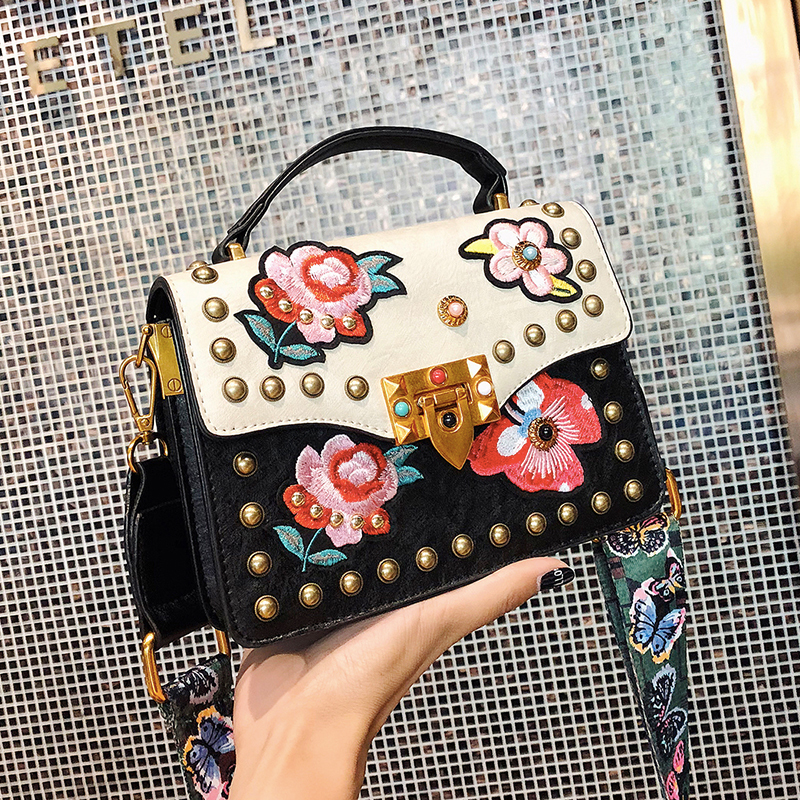Drop Shipping New Fashion Rivet PU Leather Messenger Bag Flower Embroidery Girls