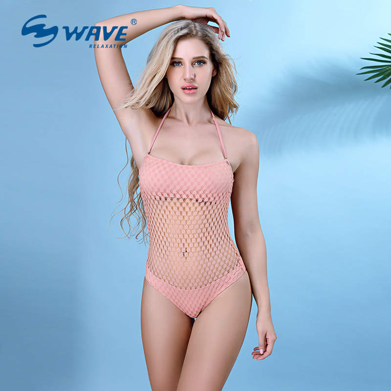 WAVE  Hollow Fishnet style New Sexy Lady bikini One-Pieces Swimsuit Spa Beach Wear Women Swimwear Bathing Sport's Bikini new denim mesh spliced fishnet sexy jeans shorts high cut vintage cute bikini low rise waist micro mini hot short culb wear f35