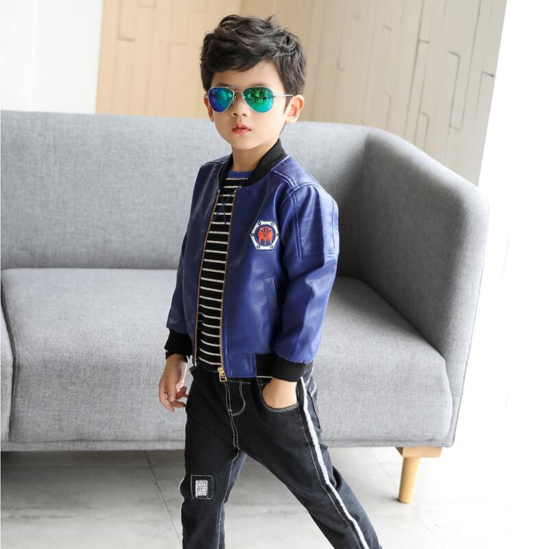 JENYA 2018 new boys children chothing faux leather jacket spring&autumn kids casual mand ...