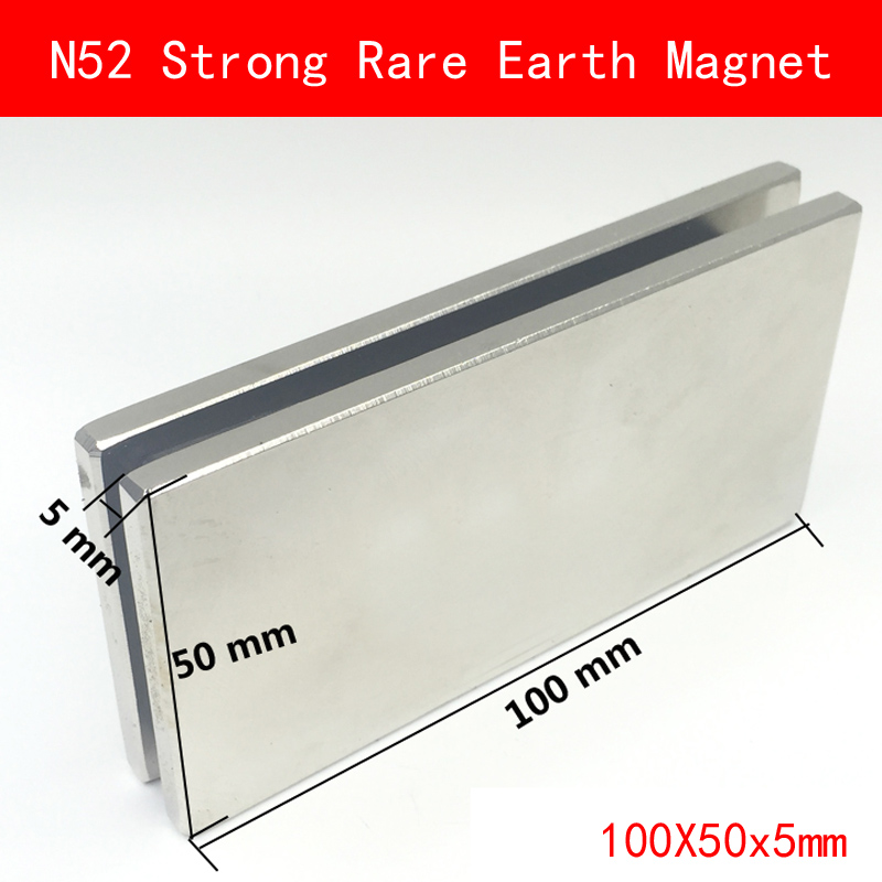 1PCS sheet 100x50x5mm N52 Super Strong Rare Earth Magnet Permanent N52 NdFeB Magnets 100*50*5MM 1pcs 55 20 4 5mm strong power small sintered neodymium ndfeb permanent rare earth magnet 55x20x4 5mm