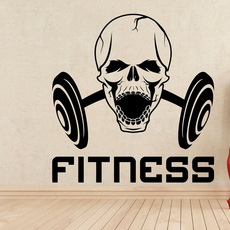 Huge Home Gym With Red Walls Home Gym Ideas: Gym Name Sticker Fitness Skull Dumbbell Crossfit Decal