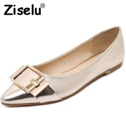Ziselu 2017 new point toe buckle women s flats basic pu leather slip on shallow flats.jpg 250x250