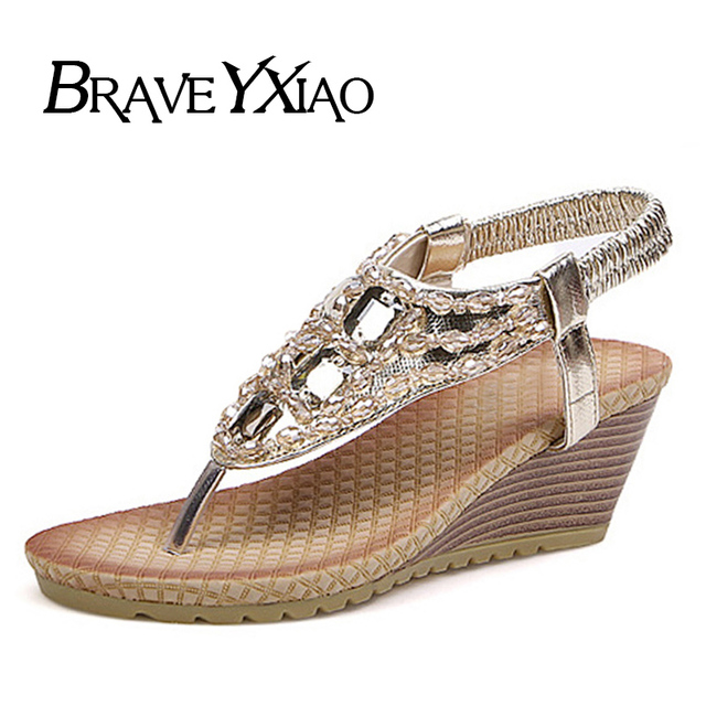 51471c577 New 2019 Summer Wedge Sandals Women Flip Flops Rhinestone Beach Shoes  Women's Sandals Ladies Wedges 7cm Heel YX2331
