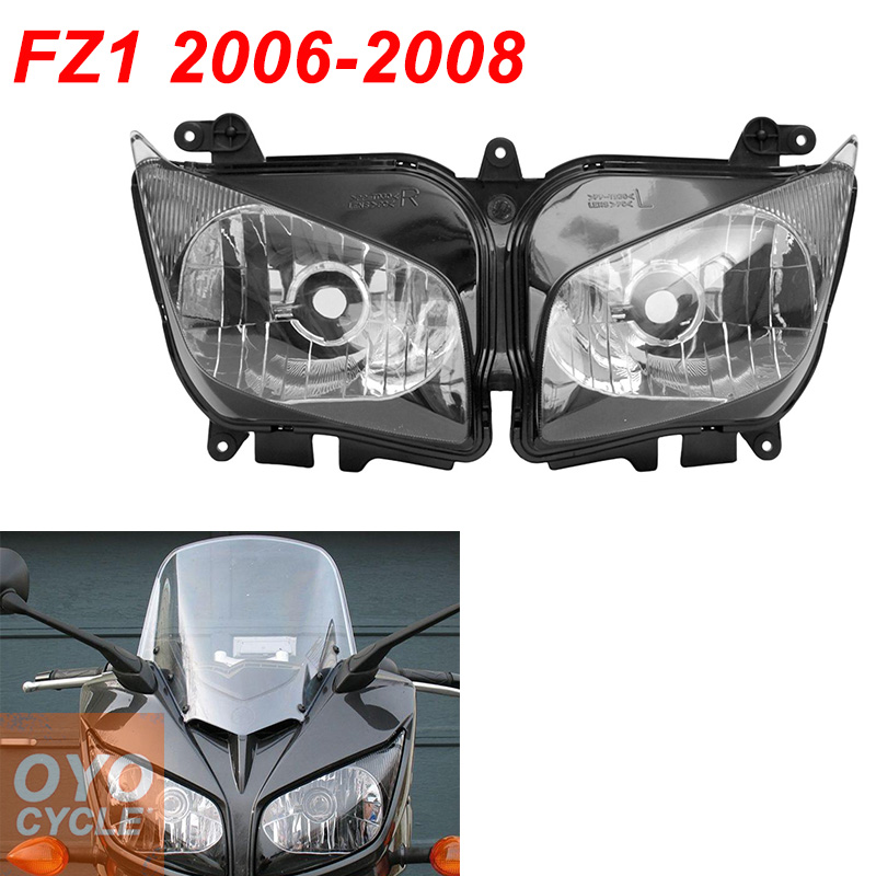 For 06-08 Yamaha FZ1 FZ1000 Fazer Motorcycle Front Headlight Head Light Lamp Headlamp CLEAR 2006 2007 2008 pair car front headlamp clear lens headlight plastic shell clear cover for bmw e90 e91 2004 2005 2006 2007