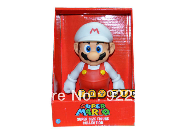 Freeshipping 1X Grande PVC Super Mario Brothers Action Figure Mario Cappello  Bianco 9