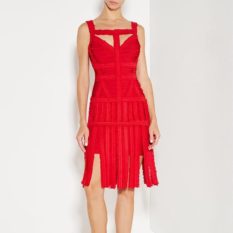 2019 hl nieuwe cocktail party clubwear night out formele fringe kwastje mouwloze chiffon sheer zwart rood wit vrouwen bandage jurk