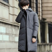 купить b New Winter Jackets Men Casual Mid Long Thick Winter Coat Men Solid Hooded Parka Male Clothes Overcoat Outerwear plus size 3XL дешево