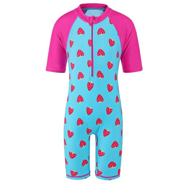 Kids Baby Swimsuit Strawberry Rash Guards Vest Sun UV Protection 50+ Children Swimming Costume One Piece Swimwear for 3-8Y Girls