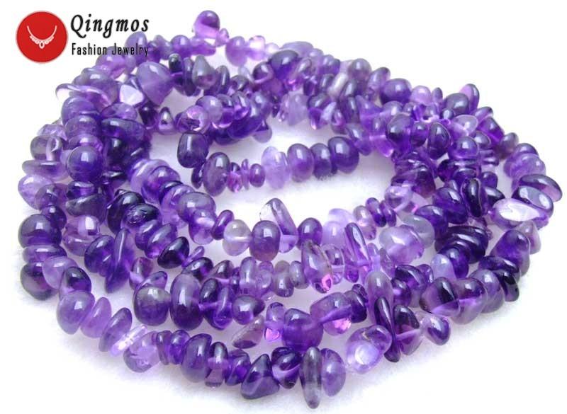 """Qingmos 32 """"натуральный аметист ожерелье для женщин с 7-8 мм Фиолетовый барочный драгоценный камень длинное ожерелье с камнем для женщин ювелирны..."""