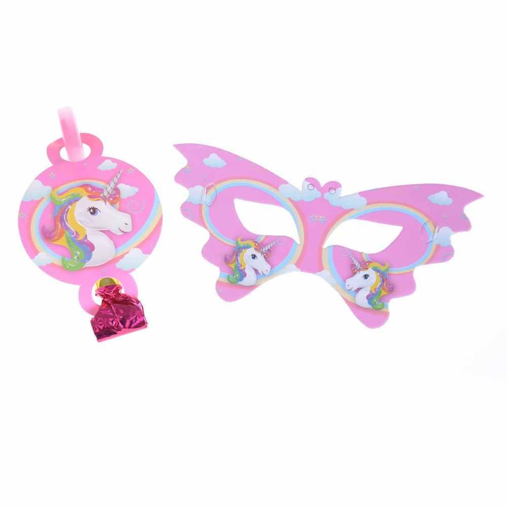 Banner de fiesta de unicornio/bolsa de regalo taza 1st cumpleaños fiesta decoración niños Favor suministros/globos cumpleaños fiesta placa palomitas
