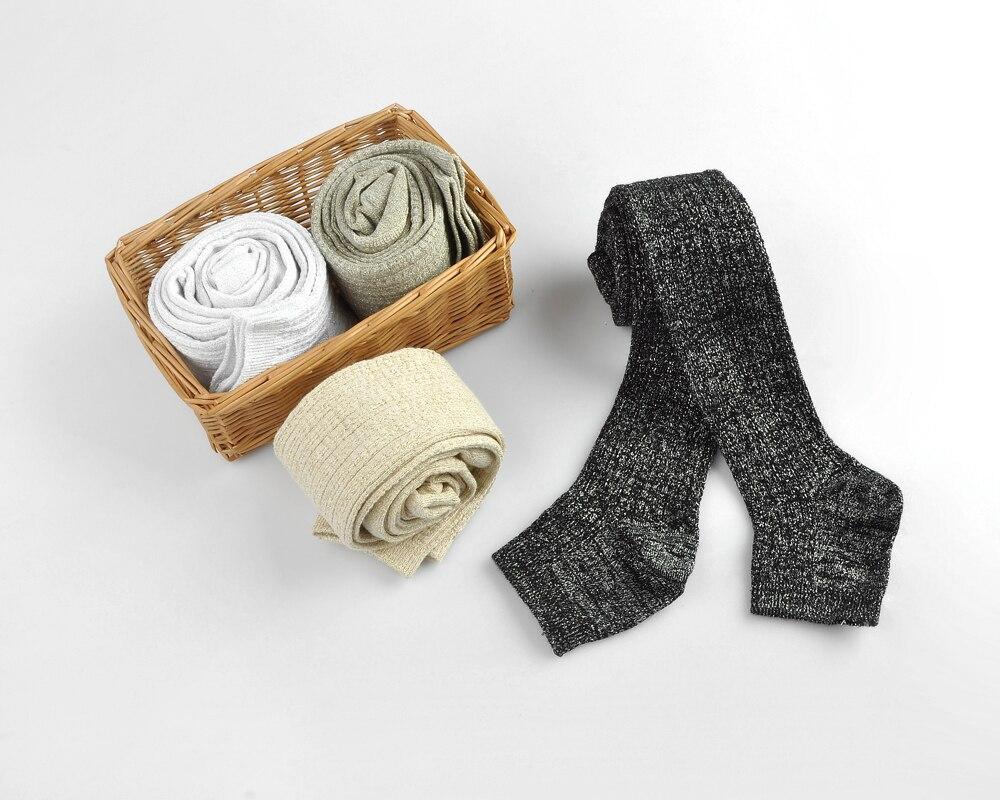 Doulakayi Autumn Baby Girls Knitted Slim Leggings Gold Thread Kids